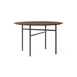 Snaregade Dining Table Ø120 | Black Steel / Dark Stained Oak | Dining tables | MENU