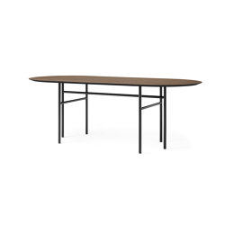 Snaregade Dining Table Oval | Black Steel / Dark Stained Oak | Dining tables | MENU