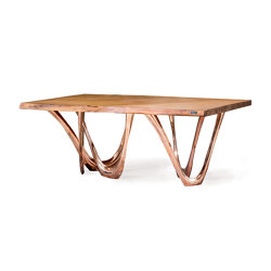 G-Table With Copper Base And Kauri Wood Top | Dining tables | Zieta