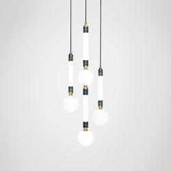 Greenstone Cluster - 3 Piece   Suspended lights   Marc Wood Studio