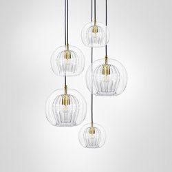 Pleated Crystal Cluster - 5 Piece Clear   Suspended lights   Marc Wood Studio