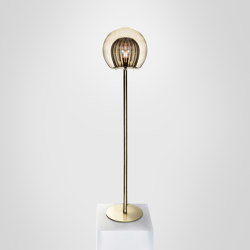 Pleated Crystal Floor Lamp - Smoke   Free-standing lights   Marc Wood Studio