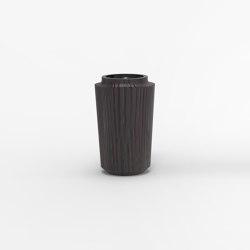 Makino black and dark red urushi vertical stripes vases | Vases | Hiyoshiya