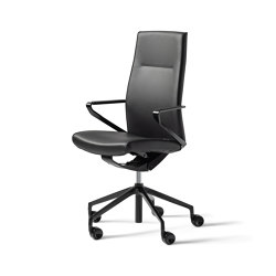 delv swivel chair with armrest, padded  seat and back, leather | Sillas de oficina | Wiesner-Hager