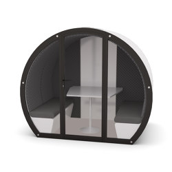 4 Person Meeting Pod with Front Glass Enclosure and Acoustic Back Panel | Office Pods | The Meeting Pod