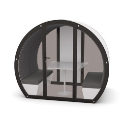 4 Person Meeting Pod with Front Glass Enclosure and Glass Back Panel | Office Pods | The Meeting Pod