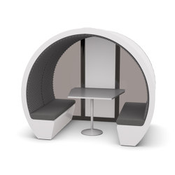 4 Person Meeting Pod with Glass Back Panel | Office Pods | The Meeting Pod