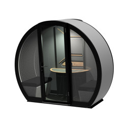 2 Person Outdoor Pod withFront Glass Enclosure and Back Panel | Office Pods | The Meeting Pod