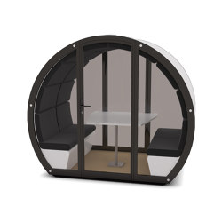 4 Person Outdoor Pod withFront Glass Enclosure and Back Panel | Office Pods | The Meeting Pod