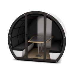 6 Person Outdoor Pod withFront Glass Enclosure and Back Panel | Office Pods | The Meeting Pod