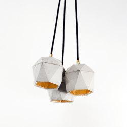 [T2] set Concrete & Gold - Silver - Copper | Suspended lights | GANTlights