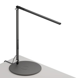 Z-Bar Solo Desk Lamp with wireless charging Qi base, Metallic Black   Table lights   Koncept
