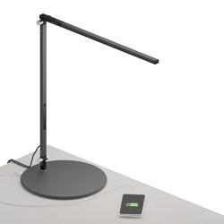 Z-Bar Solo Desk Lamp with USB base, Metallic Black   Table lights   Koncept