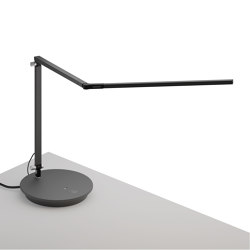 Z-Bar Desk Lamp with power base (USB and AC outlets), Metallic Black | Table lights | Koncept