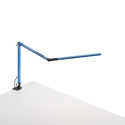 Z-Bar mini Desk Lamp with Metallic Black one-piece desk clamp, Blue   Table lights   Koncept