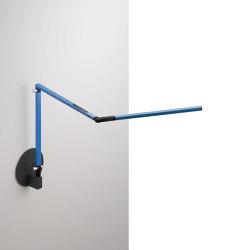 Z-Bar mini Desk Lamp with Metallic Black hardwire wall mount, Blue | Appliques murales | Koncept