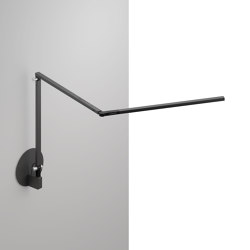 Z-Bar slim Desk Lamp with hardwire wall mount, Metallic Black | Wall lights | Koncept