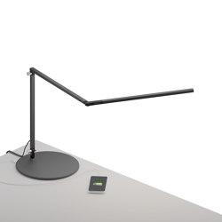 Z-Bar slim Desk Lamp with USB base, Metallic Black | Table lights | Koncept