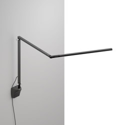 Z-Bar slim Desk Lamp with wall mount, Metallic Black | Wall lights | Koncept