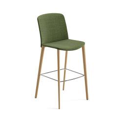 Mixu | Bar stool 4 wood legs, upholstered | Bar stools | Arper