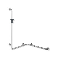 Rail with vertical support bar and shower head holder | Grab rails | HEWI