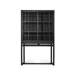 Burung | Oak black storage cupboard - 2 sliding doors - varnished | Cabinets | Ethnicraft