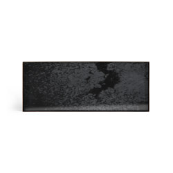 Classic tray collection | Charcoal mirror valet tray - black metal rim - rectangular - L | Trays | Ethnicraft