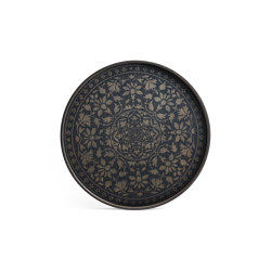 Classic tray collection | Black Marrakesh wooden tray - round - L | Trays | Ethnicraft