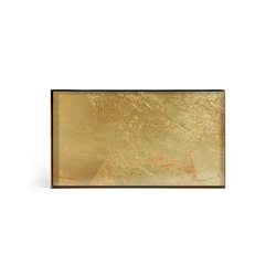 Gilded Layers tray collection   Gold Leaf glass valet tray - metal rim - rectangular - M   Trays   Ethnicraft