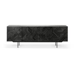 Graphic | Teak black sideboard - 4 doors - varnished | Sideboards | Ethnicraft