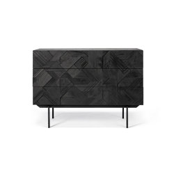 Graphic   Teak black chest of drawers - 3 drawers - varnished   Aparadores   Ethnicraft
