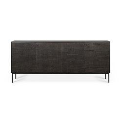 Grooves | Teak black sideboard - 4 doors - varnished | Sideboards | Ethnicraft
