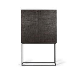 Grooves | Teak black storage cupboard - 2 doors - 2 inside drawers - varnished | Cabinets | Ethnicraft