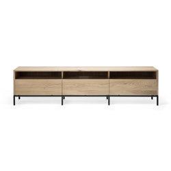 Ligna | Oak TV Cupboard - 3 drawers - black metal legs | Multimedia sideboards | Ethnicraft