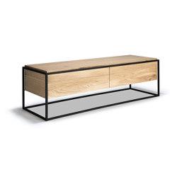 Monolit | Oak TV cupboard - 1 drawer - 1 flip-down door - black metal | Multimedia sideboards | Ethnicraft