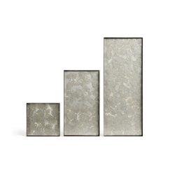 Organic tray collection | Fossil Organic glass valet tray - metal rim - rectangular - S | Bandejas | Ethnicraft