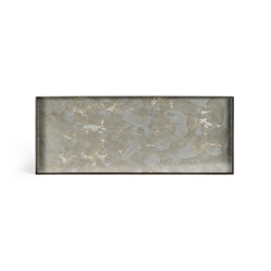 Organic tray collection   Fossil Organic glass valet tray - metal rim - rectangular - L   Trays   Ethnicraft