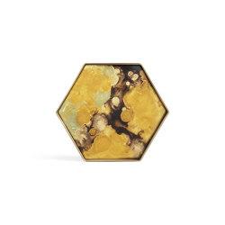 Organic tray collection   Yellow Organic glass valet tray - metal rim - hexagon - S   Trays   Ethnicraft