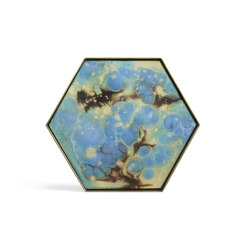 Organic tray collection   Teal Organic glass valet tray - metal rim - hexagon - L   Trays   Ethnicraft