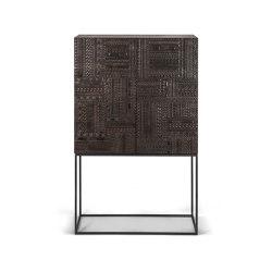 Tabwa | Teak black storage cupboard - 2 doors - 2 inside drawers - varnished | Cabinets | Ethnicraft