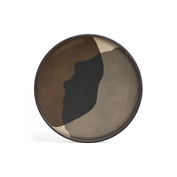 Translucent Silhouettes tray collection | Graphite Combined Dots glass tray - round - XL | Trays | Ethnicraft