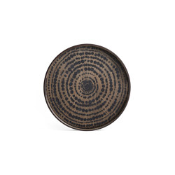 Tribal Quest tray collection   Black Beads wooden tray - round - S   Trays   Ethnicraft