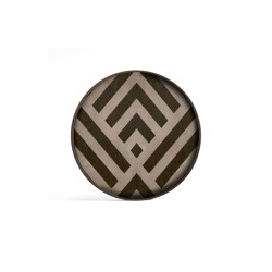 Urban Geometry tray collection   Graphite Chevron wooden valet tray - wooden rim - round - L   Trays   Ethnicraft