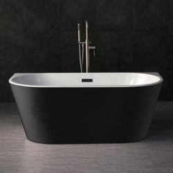 ACRYLIC | York Freestanding Acrylic Bathtub - Black & White - 150cm | Bathtubs | Riluxa