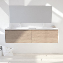 CORIAN®   Atlanta Solid Oak Wall Mounted Vanity Unit with Corian® Glacier White Toronto Double Basin   Vanity units   Riluxa