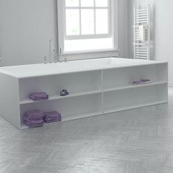 CORIAN® | B-Flat Built-in DuPont™ Corian® Bathtub - Front shelves | Bathtubs | Riluxa