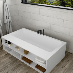 CORIAN® | B-Round Built-in DuPont™ Corian® Bathtub - 3 Panels & Front shelf | Bathtubs | Riluxa