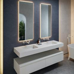 CORIAN®   Square DuPont™ Corian® Wall Mounted Double Washbasin   Wash basins   Riluxa