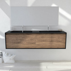 CORIAN® COLOUR | Mueble de baño suspendido Atlanta de madera maciza con lavabo Toronto en Corian® Colour - 2 cajones | Armarios lavabo | Riluxa