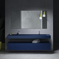 CORIAN® COLOUR | Georgia Wall Mounted Washbasin + 2-Drawer Cabinet | Vanity units | Riluxa